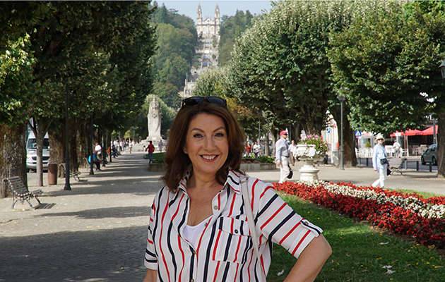Jane McDonald. Jane enjoys a stroll through the town of Lamego. Lamego, Portugal