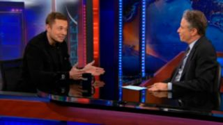 "SpaceX CEO Elon Musk talks space with TV comedian Jon Stewart on Comedy Central's ""The Daily Show"" on April 10, 2012."