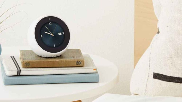 Amazon Echo Spot in bedroom on bedside table