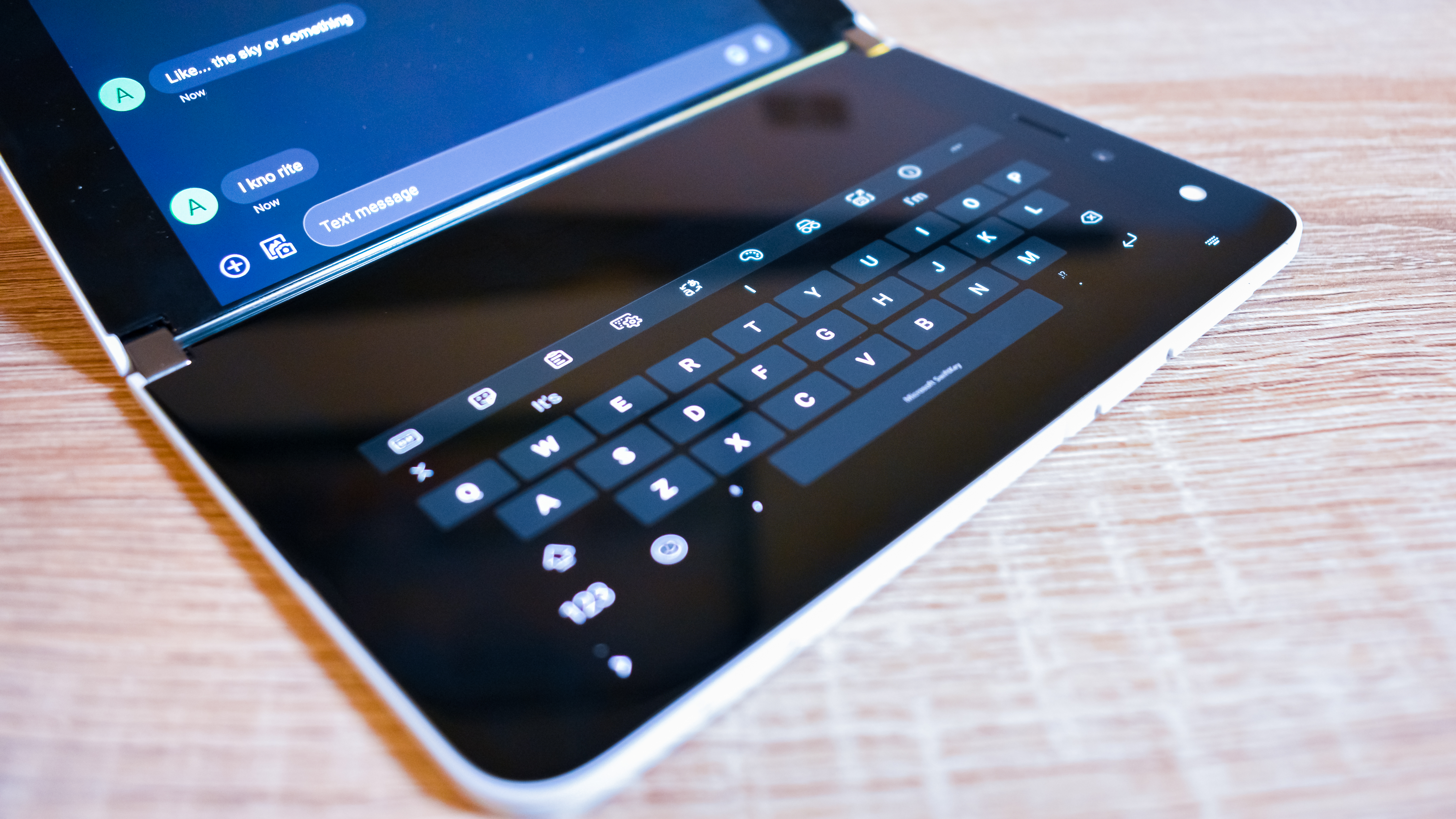 A close up of one half of the Microsoft Surface Duo