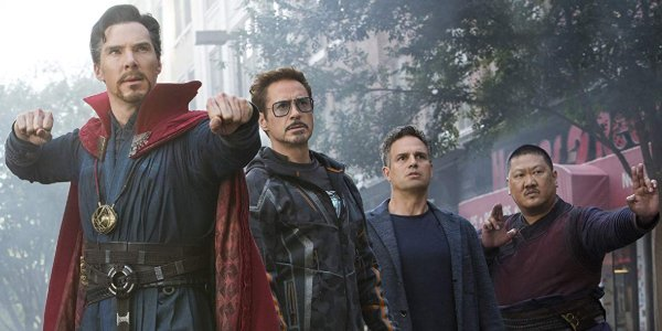 Avengers: Infinity War Doctor Strange, Tony Stark, Bruce Banner, and Wong stand ready to face their