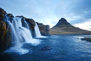 Iceland's Kirkjufell mountain and waterfalls.