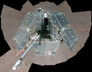 NASA's Mars rover Opportunity captured this self portrait on March 22, 2014.