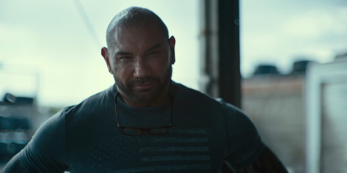 Dave Bautista looking on in the trailer for Army of the Dead
