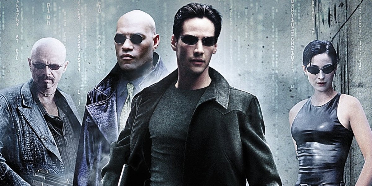 Keanu Reeves, Carrie Anne-Moss, Laurence Fishburne, and Joe Pantoliano in The Matrix