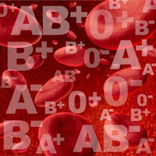 red blood cells with blood type