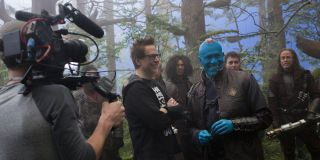 James Gunn directing on set of Guardians of the Galaxy Vol. 2