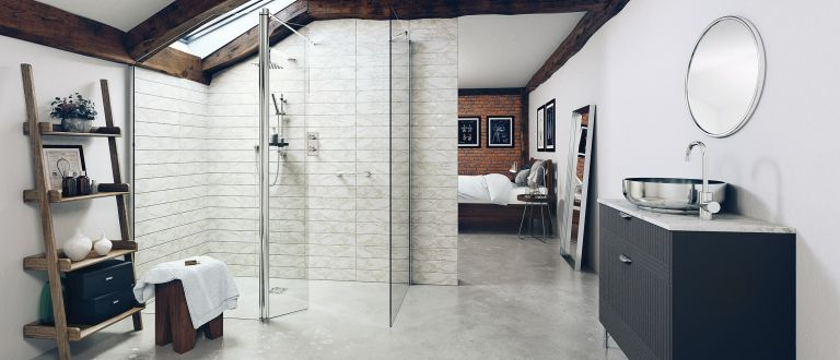 Impey wetroom with grey wall and alrge glass screen