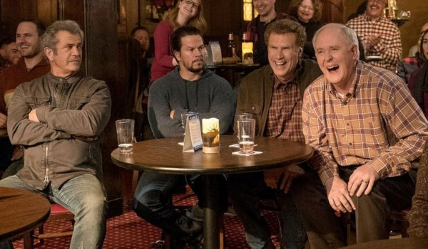 Daddy's Home 2 Mel Gibson and Mark Wahlberg glare at laughing Will Ferrell and John Lithgow