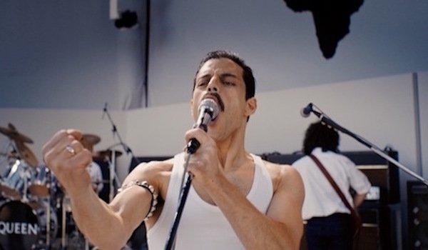 Rami Malek as Freddie Mercury in Queen at Live Aid in Bohemian Rhapsody