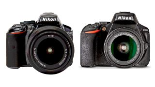 A Nikon D5300 and D5600 camera side-by-side