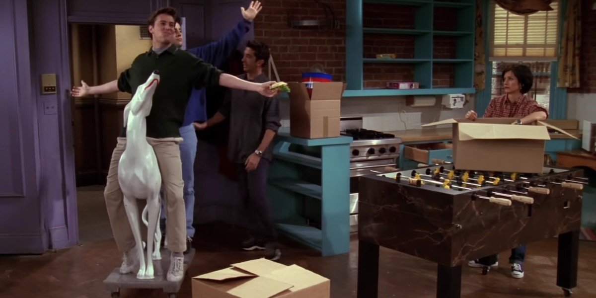 "Courteney Cox, Matt LeBlanc, Matthew Perry, and David Schwimmer in Friends episode, ""The One with th"