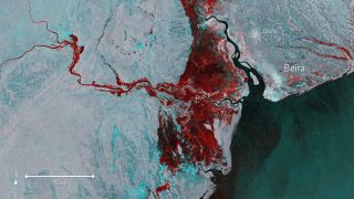 Imagery captured by Sentinel-1 on March 19 shows the extent of flooding (depicted in red) around Beira, Mozambique, after Cyclone Idai made landfall.