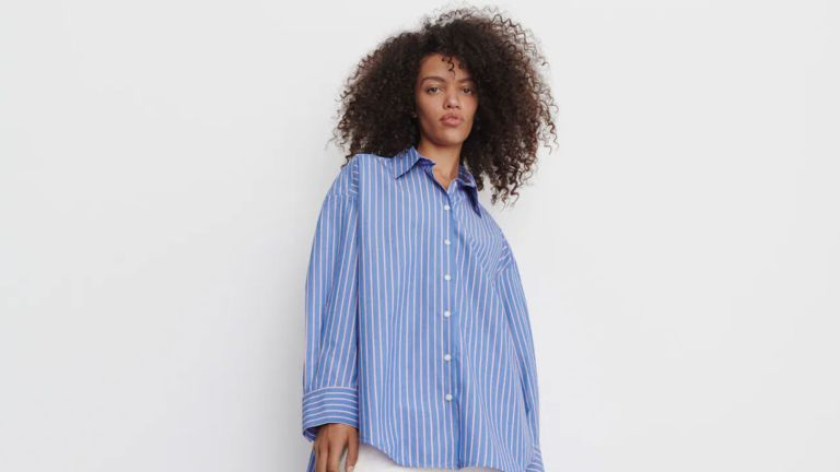 working from home clothes blue pinstripe shirt