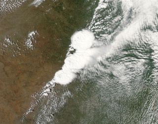 Satellite image of the storm that gave rise to the Moore, Okla. tornado on May 20.