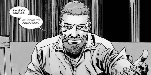 rick grimes welcoming others to alexandria walking dead comic book