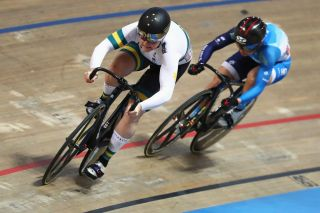 Australia's Steph Morton battles with Hong Kong's Lee Wai Sze in the Sprint final at the 2020 UCI Track World Championships in Berlin, Germany, where Morton had to settle for silver