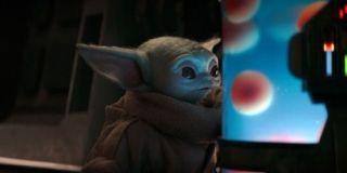 Baby Yoda eyes his dinner.