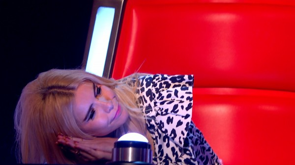 Paloma Faith pretends to be asleep during The Voice