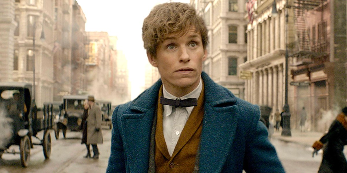 Eddie Redmayne looks surprised as Newt Scamander in Fantastic Beasts and Where to Find Them Warner B