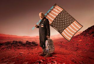 Buzz Aldrin and solar backpack