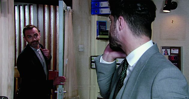 Billy Mayhew tells Todd Grimshaw he thinks Adam Barlow should contribute to their fund, given that it's his fault they're out of work. Adam refuses to take the bait so when Billy spots an envelope of cash on Adam's desk, he impulsively scoops it up and hurries out in Coronation Street.