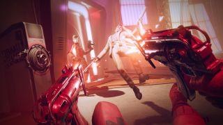En skärmbild av action i Deathloop på PS5.