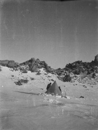 Historic photo of a 1912 Antarctica campsite