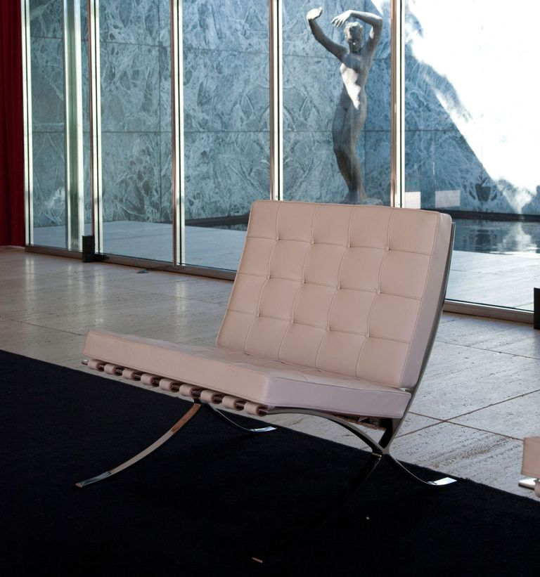 white barcelona chair by mies van der rohe