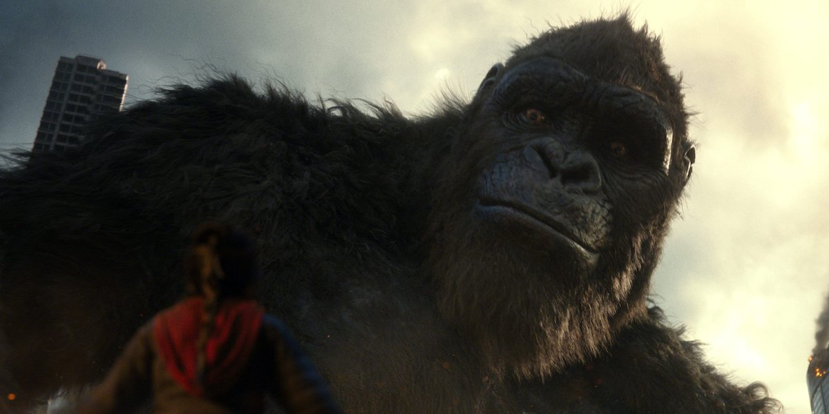 Kong looking down at Jia in Godzilla Vs. Kong