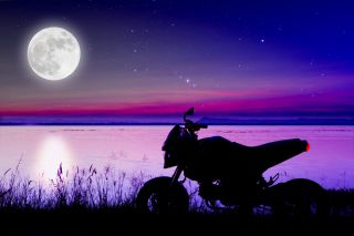 motorcycle, full moon