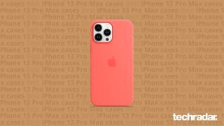 An iPhone 13 Pro Max case on a background