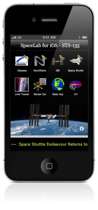 A view of the iPhone 4 SpaceLab for iOS app that will be delivered to the International Space Station on NASA's last-ever shuttle mission STS-135 aboard Atlantis. The two iPhone 4s will be the first iPhones in space.