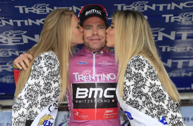 Cadel Evans on the podium after taking the overall lead on Stage 2 of the 2014 Tour of Trentino