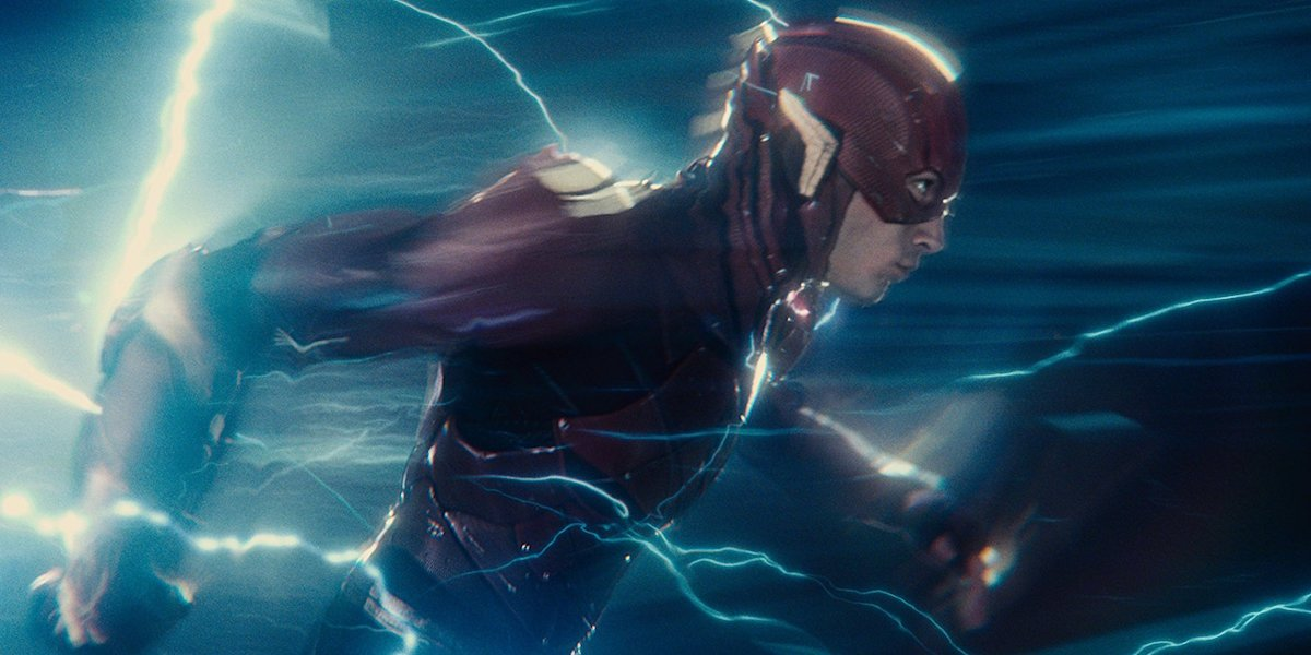 Ezra Miller running as The Flash in Justice League