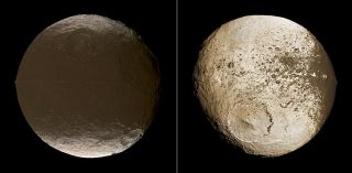 These two global images of Saturn's moon Iapetus show the extreme brightness dichotomy on the surface of this peculiar moon.