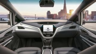 Interior of a self-driving car with no steering wheel