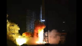 Liftoff of the Long March 3B rocket carrying Tiantong 1-03.