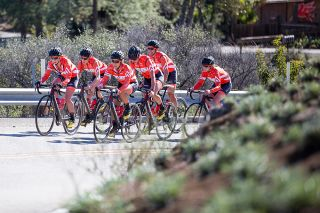 The women of Rally Cycling make their back up the coast after training in the canyons south of Oxnard, California.