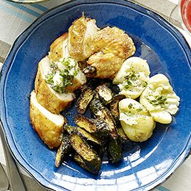 Chicken supremes with lemon thyme butter and baked courgettes-feel good recipes-woman and home