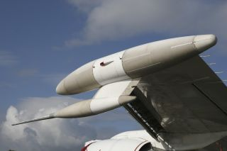 A close-up view of the wingtip ESM sensors, or electronic support measures, on a U.S. Navy E-6A Mercury aircraft. To create the E-6B, Boeing modified the E-6A, adding various specialized equipment.
