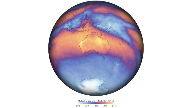 This map depicts measurements of outgoing longwave radiation in November 2019. The data on Australia's heat emission comes from the Clouds and the Earth's Radiant Energy System on board NASA's Terra satellite.