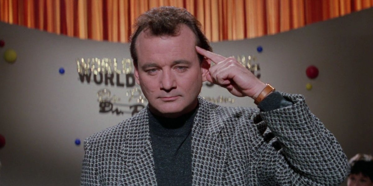 Bill Murray trying to send psychic messages to the audience in Ghostbusters II.
