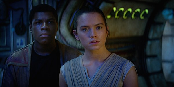 Rey and Finn hearing about the Jedi in Star Wars: The Force Awakens