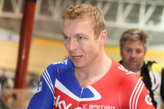 Sir Chris Hoy celebrates winning keirin final, Track World Championships 2012, day five