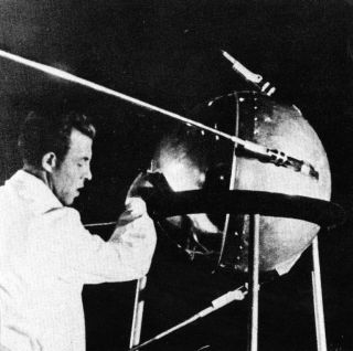 Technician Works on Sputnik 1
