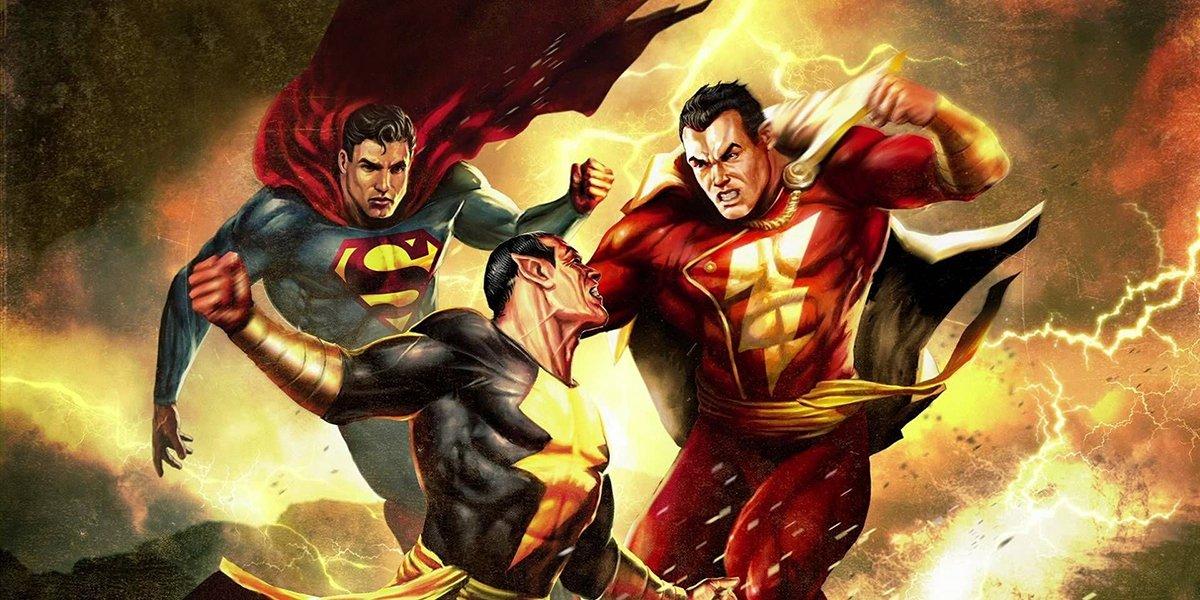 Superman and Shazam fighting Black Adam