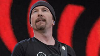 U2's the Edge plays a Fender Telecaster in 2005