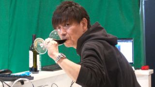 Naoki Yoshida drinking red wine