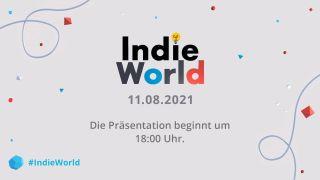 Schriftzug Indie World auf grauem Hintergrund mit Datum und Uhrzeit darunter